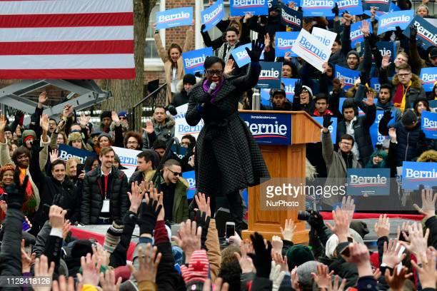 US Sen Nina Turner takes the stage to stump for Sen Bernie Sanders takes the stage to stump for Sen Bernie Sanders during the 2020 campaign kickoff...