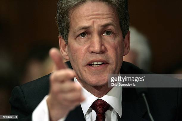 Sen. Norm Coleman gives a statement during a Homeland Security and Governmental Affairs committee meeting on lobby reform January 25, 2006 on Capitol...
