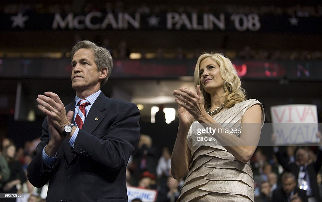 Sen. Norm Coleman, R-Minn., and his wife Laurie watch the proceedings on the floor of the Republican National Convention frmo the VIP box at the Xcel Center in St. Paul, Minn., on Wednesday, Sept. 3, 2008.