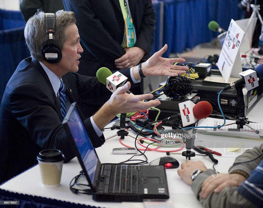 Sen. Norm Coleman, R-Minn., does an interview with KSTP radio on Radio Row at the Republican National Convention at the Xcel Center in St. Paul, Minn., on Wednesday, Sept. 3, 2008.