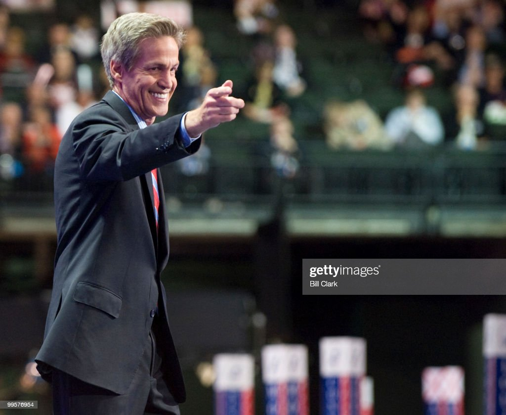 Sen. Norm Coleman, R-Minn., waves to the crowd after speaking on the floor of the Republican National Convention frmo the VIP box at the Xcel Center in St. Paul, Minn., on Wednesday, Sept. 3, 2008.
