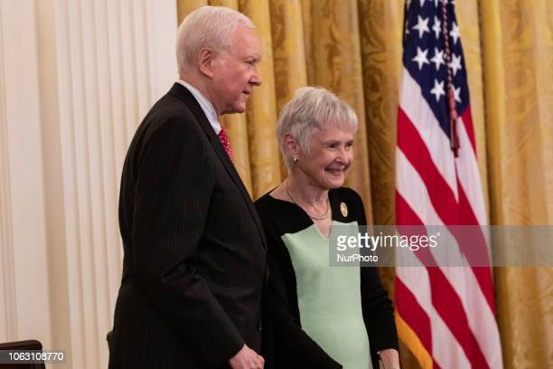 Sen Orrin Hatch and Maureen McCarthy Scalia wife of former US Supreme Court Justice Antonin Scalia before they accept the Presidential Medal of...