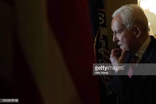 S Sen Orrin Hatch arrives at the office of Senate Majority Leader Sen Mitch McConnell for a meeting after Senate Judiciary Committee voted to approve...