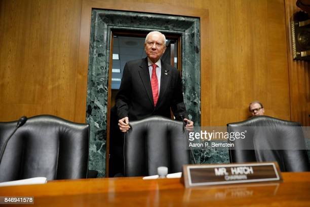 Sen Orrin Hatch arrives for a tax reform hearing before the Senate Finance Committee on Capitol Hill September 14 2017 in Washington DC President...