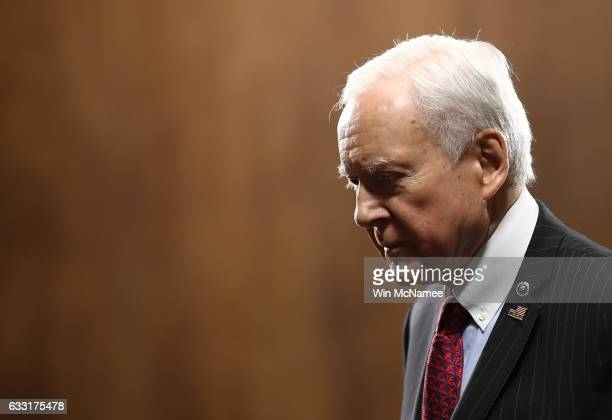 Sen Orrin Hatch arrives for the Senate Judiciary Committee's 'markup' on the nomination of Sen Jeff Sessions to be the next Attorney General of the...