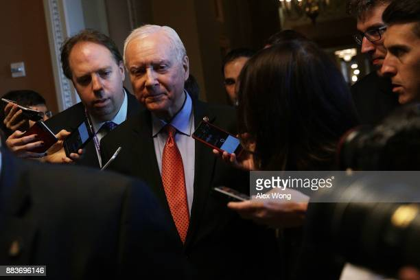 S Sen Orrin Hatch is surrounded by members of the media at the Capitol December 1 2017 in Washington DC Senate GOPs indicate that they have enough...