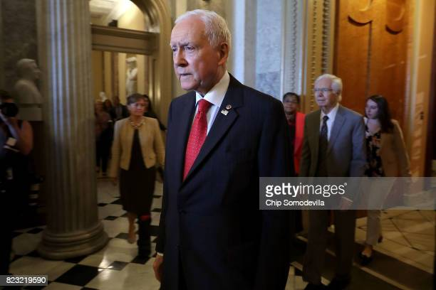 Sen Orrin Hatch leaves the Senate Chamber following votes in the US Capitol July 26 2017 in Washington DC GOP efforts to pass legislation to repeal...