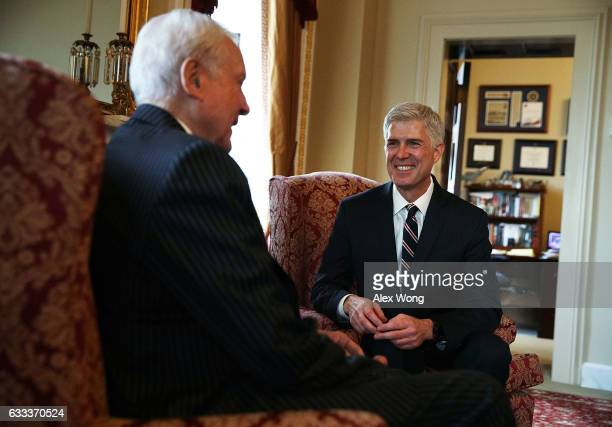 S Sen Orrin Hatch meets with Supreme Court nominee Judge Neil Gorsuch February 1 2017 at the Capitol in Washington DC President Donald Trump has...