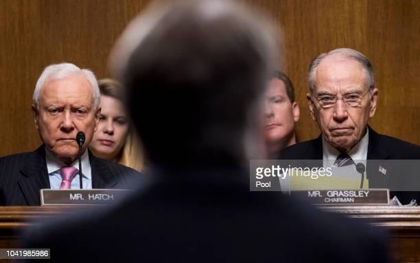 Sen Orrin Hatch RUtah left and Sen Chuck Grassley RIowa listen as Judge Brett Kavanaugh testifies during the Senate Judiciary Committee hearing on...