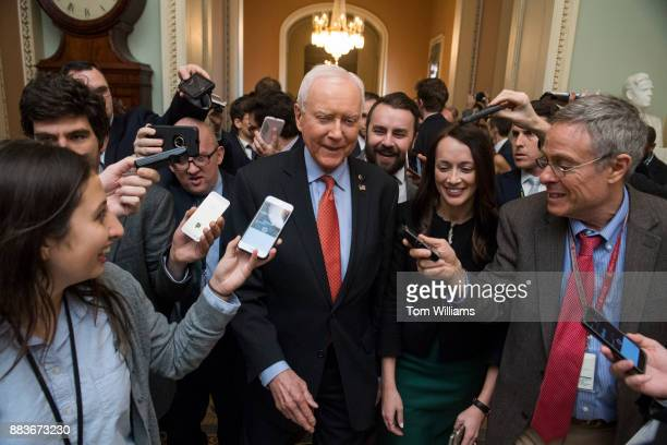 Sen Orrin Hatch RUtah talks with reporters before Senate Majority Leader Mitch McConnell RKy announced that Republicans have enough votes to pass the...