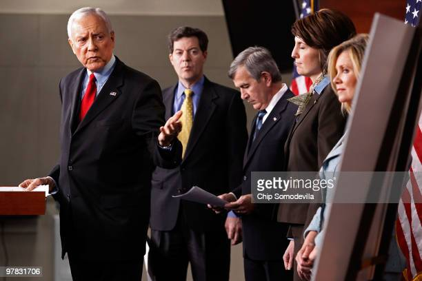 Sen Orrin Hatch Sen Sam Brownback Sen Mike Johanns Rep Cathy McMorris Rodgers and Rep Marsha Blackburn hold a news conference at the US Capitol March...