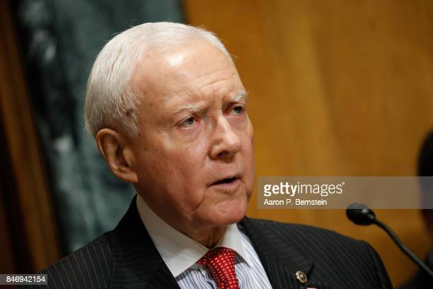 Sen Orrin Hatch speaks at a tax reform hearing before the Senate Finance Committee on Capitol Hill September 14 2017 in Washington DC President Trump...
