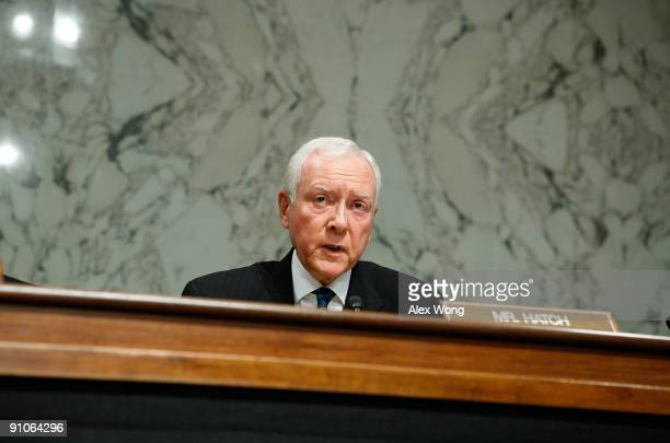 S Sen Orrin Hatch speaks during a mark up hearing before the Senate Finance Committee on Capitol Hill September 23 2009 in Washington DC Members of...