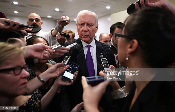 S Sen Orrin Hatch talks to members of the media March 16 2016 on Capitol Hill in Washington DC President Barack Obama has nominated Chief Judge...