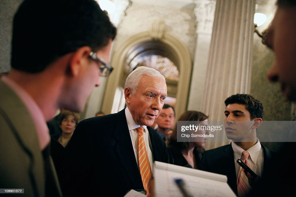 U.S. Sen. Orrin Hatch (R-UT) talks to reporters after the Senate failed to pass legislation approved last month by the House that would cut $57 billion from the federal budget at the U.S. Capitol March 9, 2011 in Washington, DC. Lawmakers must agree to another spending bill by March 18 when the current temporary budgetary measure expires.