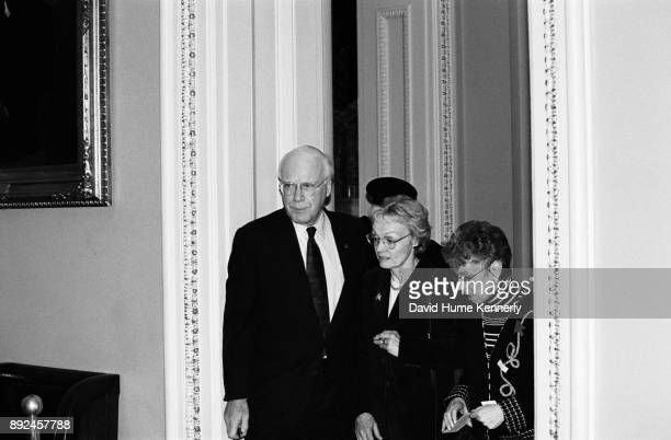 Sen Pat Leahy of Vermont and his wife Marcelle Pomerleau leave the Senate floor during a break in the Clinton Impeachment Trial on Feb 9 1999 in...