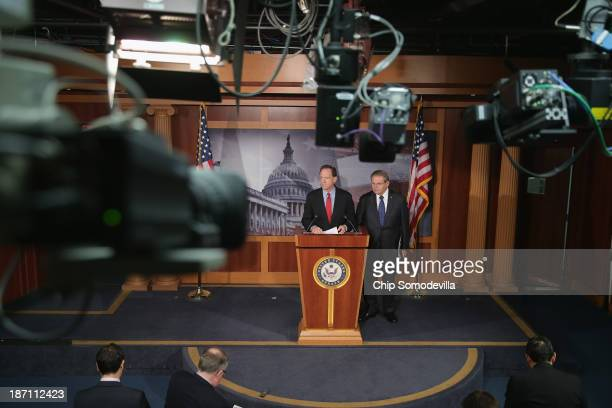 Sen Pat Toomey and Sen Robert Menendez hold a news conference to introduce the StartUp Jobs and Innovation Act at the US Capitol November 6 2013 in...