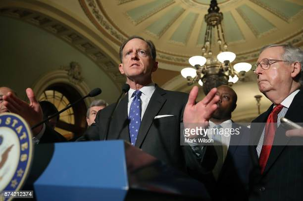 Sen Pat Toomey speaks to reporters about the proposed Senate Republican tax bill after attending the Senate GOP policy luncheon at US Capitol on...