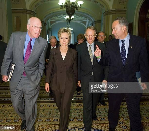Sen Patrick J Leahy DVt Sen Hillary Rodham Clinton DNY Senate Minority Leader Harry Reid DNev Sen Charles E Schumer DNY and Sen Carl Levin DMich Sen...