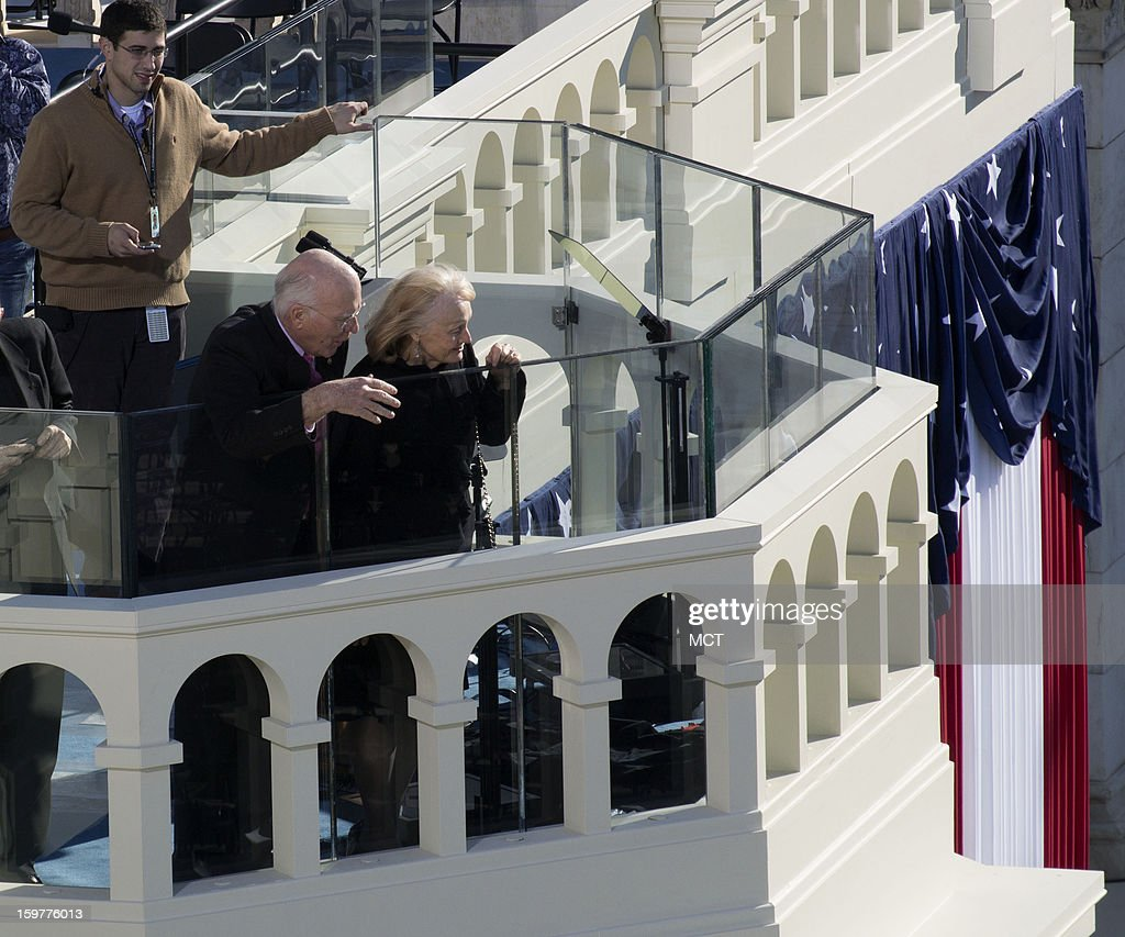 U.S. Sen. Patrick Leahy (D-VT) and his wife, Marcelle, look out on Sunday, January 20, 2013, from the platform built at the U.S. Capitol for the Inauguration of President Barack Obama on Monday.