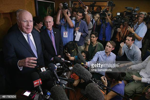 S Sen Patrick Leahy and Rep Peter Welch and other Democratic members of Congress talk to journalists assembled for a news conference at the Hotel...