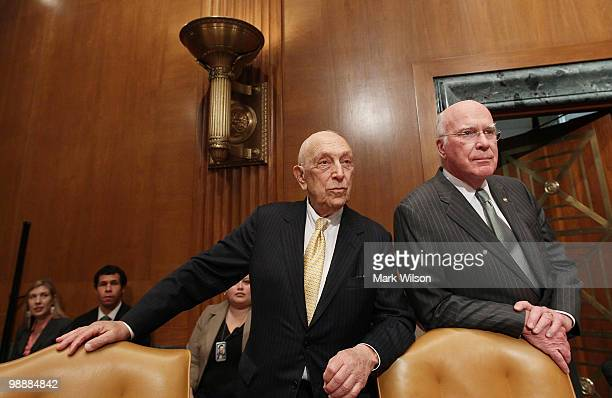Sen Patrick Leahy and Sen Frank Lautenberg attend a Senate Appropriations Committee hearing on Capitol Hill on May 6 2010 in Washington DC The...