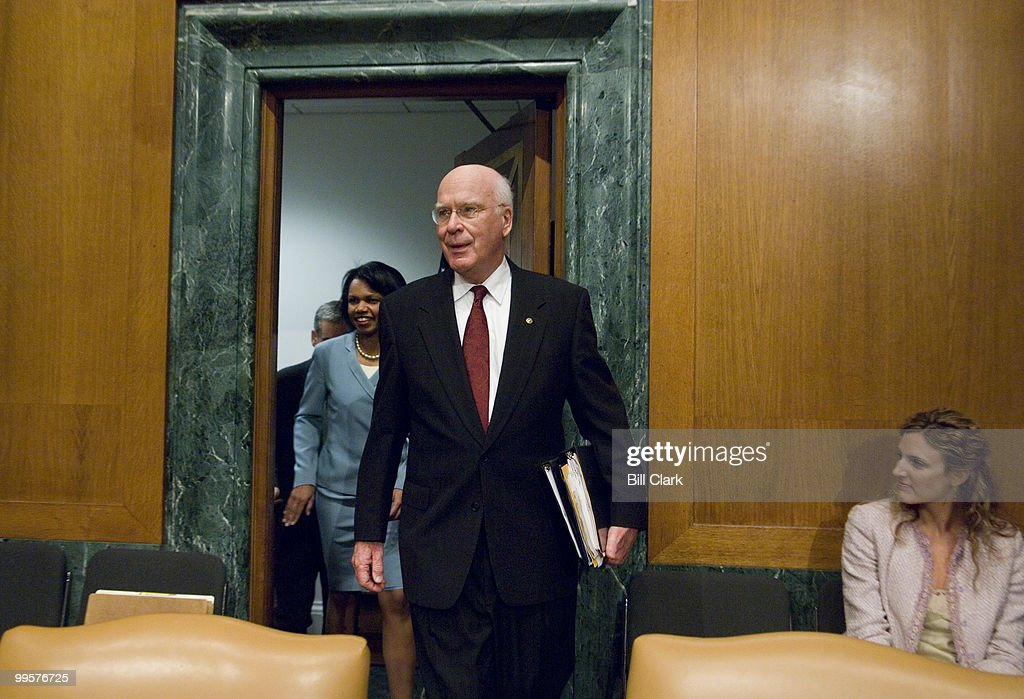 Sen. Patrick Leahy, D-Vt., arrives with Secretary of State Condoleezza Rice for the Senate Appropriations State, Foreign Operations, and Related Programs Subcommittee hearing on the FY2008 foreign operations budget on Thursday, May 10, 2007.