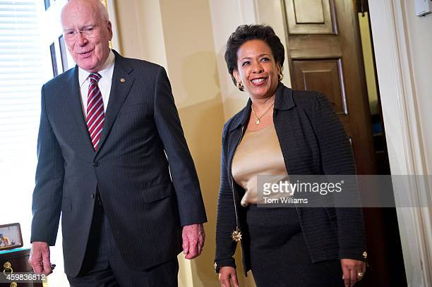 Sen Patrick Leahy DVt chairman of the Senate Judiciary Committee conducts a photoop with Attorney General nominee Loretta Lynch in his Capitol office...