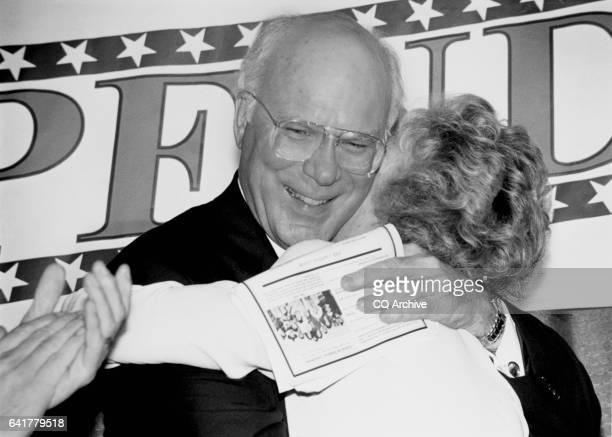 Sen Patrick Leahy DVt Honoree of 8th Annual Independence Action Roast being hugged by his wife of 31 years Marcelle Leahy after she introduced him...