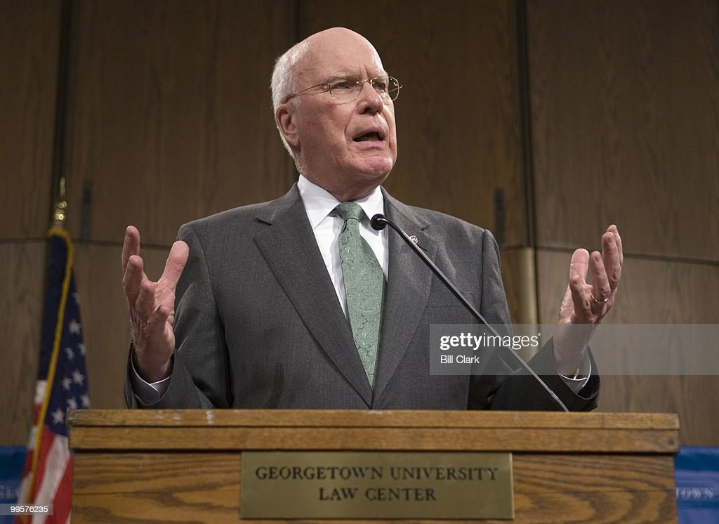 Sen. Patrick Leahy, D-Vt., incoming chairman of the Senate Judiciary Committee, speaks at the Georgetown Law Center on Wednesday, Dec. 13, 2006, about the new direction the committee will take in the 110th Congress.
