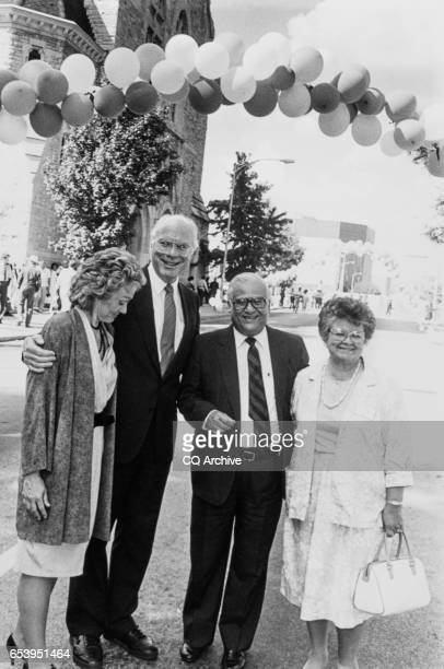 Sen Patrick Leahy DVt with wife Marcelle Pomerleau and Rep Kika de la Garza DTex with wife Lucille on Aug 7 1988