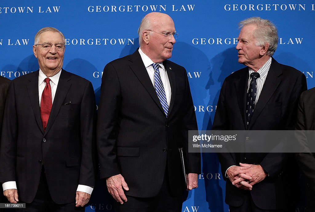 Sen. Patrick Leahy (C) (D-VT), former U.S. Vice President Walter Mondale (L) and former Sen. Gary Hart (R) (D-CO) convene at a Georgetown University Law Center discussion September 24, 2013 in Washington, DC. Leahy, Mondale, and Hart discussed 'Surveillance and Foreign Intelligence Gathering in the United States: Past, Present, and Future.'