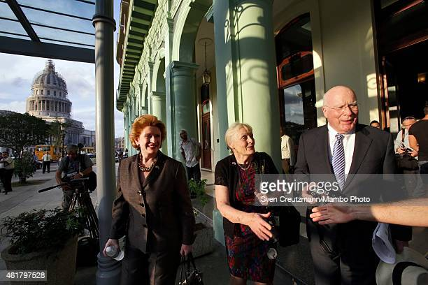 Sen Patrick Leahy his wife Marcelle Pomerleau and Sen Debbie Stabenow leave the hotel Saratoga at the end of their 3 day visit on January 19 in...