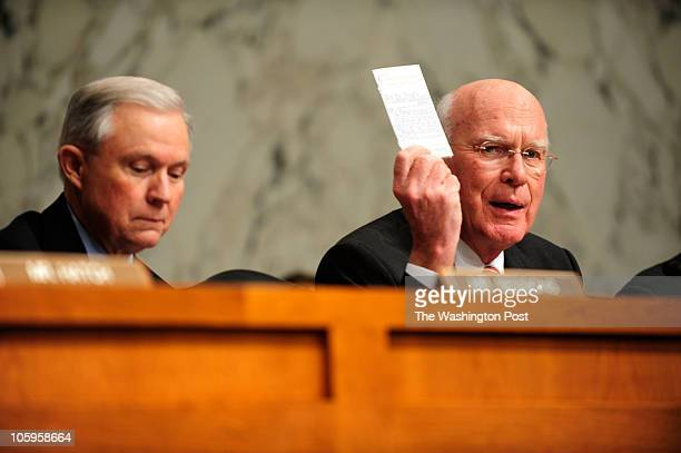 Sen Patrick Leahy holds up a copy of the Constitution while making remarks at the senate confirmation hearing for the nomination of Solicitor General...