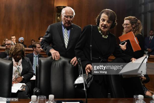 S Sen Patrick Leahy pulls chair for committee ranking member Sen Dianne Feinstein prior to a markup hearing before the Senate Judiciary Committee...