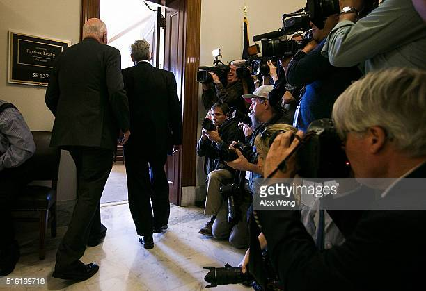 S Sen Patrick Leahy ranking member of Senate Judiciary Committee greets Supreme Court nominee Merrick Garland enter Leahy's office prior to a meeting...