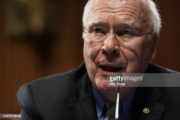 S Sen Patrick Leahy speaks as Committee Chairman Sen Chuck Grassley and ranking member Sen Dianne Feinstein listen during a markup hearing before the...
