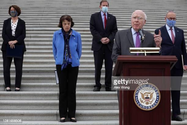 S Sen Patrick Leahy speaks as Sen Amy Klobuchar Sen Dianne Feinstein ranking member of Senate Judiciary Committee Sen Richard Blumenthal and Senate...