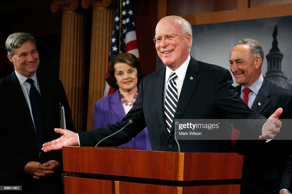 Sen. Patrick Leahy (D-VT) (C) talks to reporters about the Senate vote that confirmed judge Sonia Sotomayor as the next Supreme Court Justice, on Capitol Hill August 6, 2009 in Washington, DC. Also standing with Senator Leahy is Sen. Sheldon Whitehouse (D-RI) (L), Sen. Dianne Feinstein (D-CA)(2nd-L)and Sen. Charles Schumer (D-NY)(R).