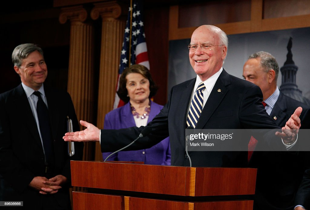 Sen. Patrick Leahy (D-VT) talks to reporters after the Senate confirmed judge Sonia Sotomayor making her the next Supreme Court Justice, on Capitol Hill August 6, 2009 in Washington, DC. Also standing with Senator Leahy is Sen. Sheldon Whitehouse (D-RI) (L), Sen. Dianne Feinstein (D-CA)(2nd-L)and Sen. Charles Schumer (D-NY)(R).