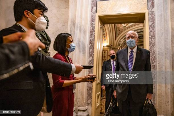 Sen. Patrick Leahy talks to reporters at the U.S. Capitol on February 12, 2021 in Washington, DC. Trump's defense team presented the defense that...