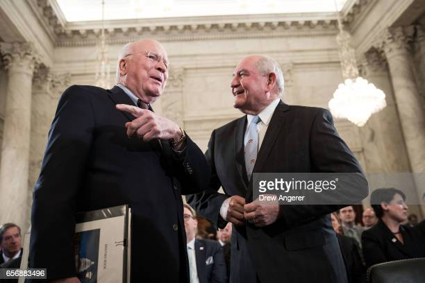Sen Patrick Leahy talks with Sonny Perdue President TrumpÕs nominee to lead the Agriculture Department before the start of Perdue's confirmation...