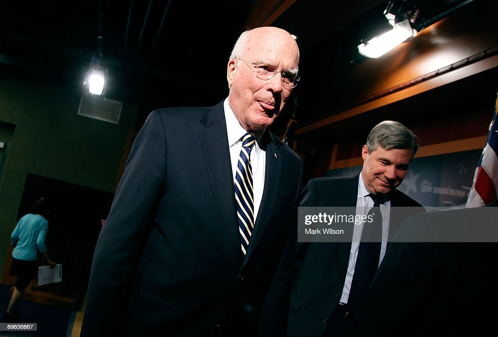 Sen. Patrick Leahy (D-VT) walks away after talking to reporters after the Senate confirmed judge Sonia Sotomayor making her the next Supreme Court Justice, on Capitol Hill August 6, 2009 in Washington, DC.