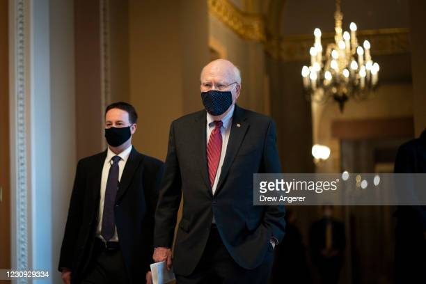 Sen. Patrick Leahy walks to the Senate floor at the U.S. Capitol on February 2, 2021 in Washington, DC. This afternoon the Senate will vote on the...
