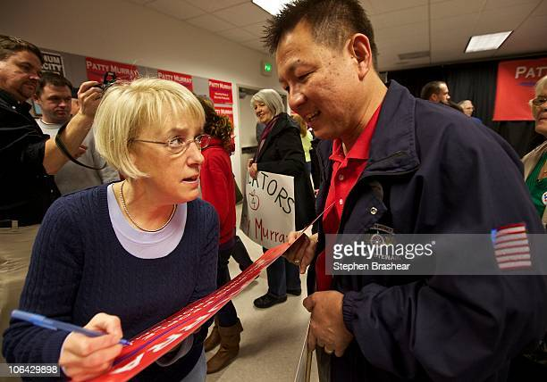 S Sen Patty Murray autographs a campaign sign for a supporter after a rally at the IAM Local 751 Union Hall November 1 2010 in Everett Washington...