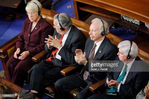 Sen. Patty Murray, D-Wash., Sen. Paul S. Sarbanes, D-Md., Sen. Joseph I. Lieberman, D-Conn., and Sen. Christopher J. Dodd, D-Conn., listen on...