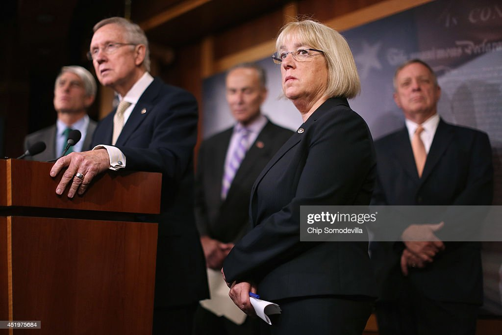 Sen. Patty Murray (D-WA) (2nd R) joins (L-R) Sen. Mark Udall (D-CO), Senate Majority Leader Harry Reid (D-NV), Sen. Charles Schumer (D-NY) and Senate Majority Whip Richard Durbin (D-IL) for a news conference to announce they will fast-track new legislation to prevent for-profit employers from refusing to cover health benefits for religious reasons with (L-R) Sat the U.S. Capitol July 10, 2014 in Washington, DC. Co-authored by Udall and Murray, the legislation would override the Supreme Court's recent decision in the Hobby Lobby case and compel for-profit business to cover contraception for their employees, as required by the Affordable Care Act.