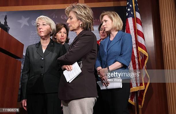 US Sen Patty Murray Sen Kay Hagan Sen Barbara Boxer Sen Amy Klobuchar and Sen Kirsten Gillibrand listen during a news conference April 8 2011 on...