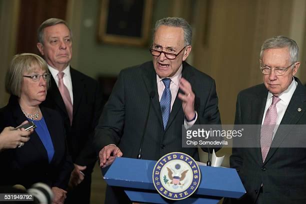 Sen Patty Murray Senate Minority Whip Richard Durbin Sen Charles Schumer and Senate Minority Leader Harry Reid talk with reporters following the...