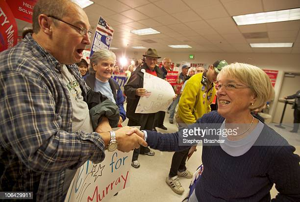 S Sen Patty Murray shakes hands with a supporter before a rally at the IAM Local 751 Union Hall November 1 2010 in Everett Washington Murray who is...